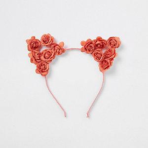 Koraalroze dubbele haarband met bloemen voor meisjes