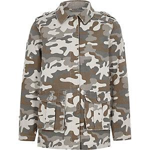Veste camouflage kaki brodée à strass pour fille