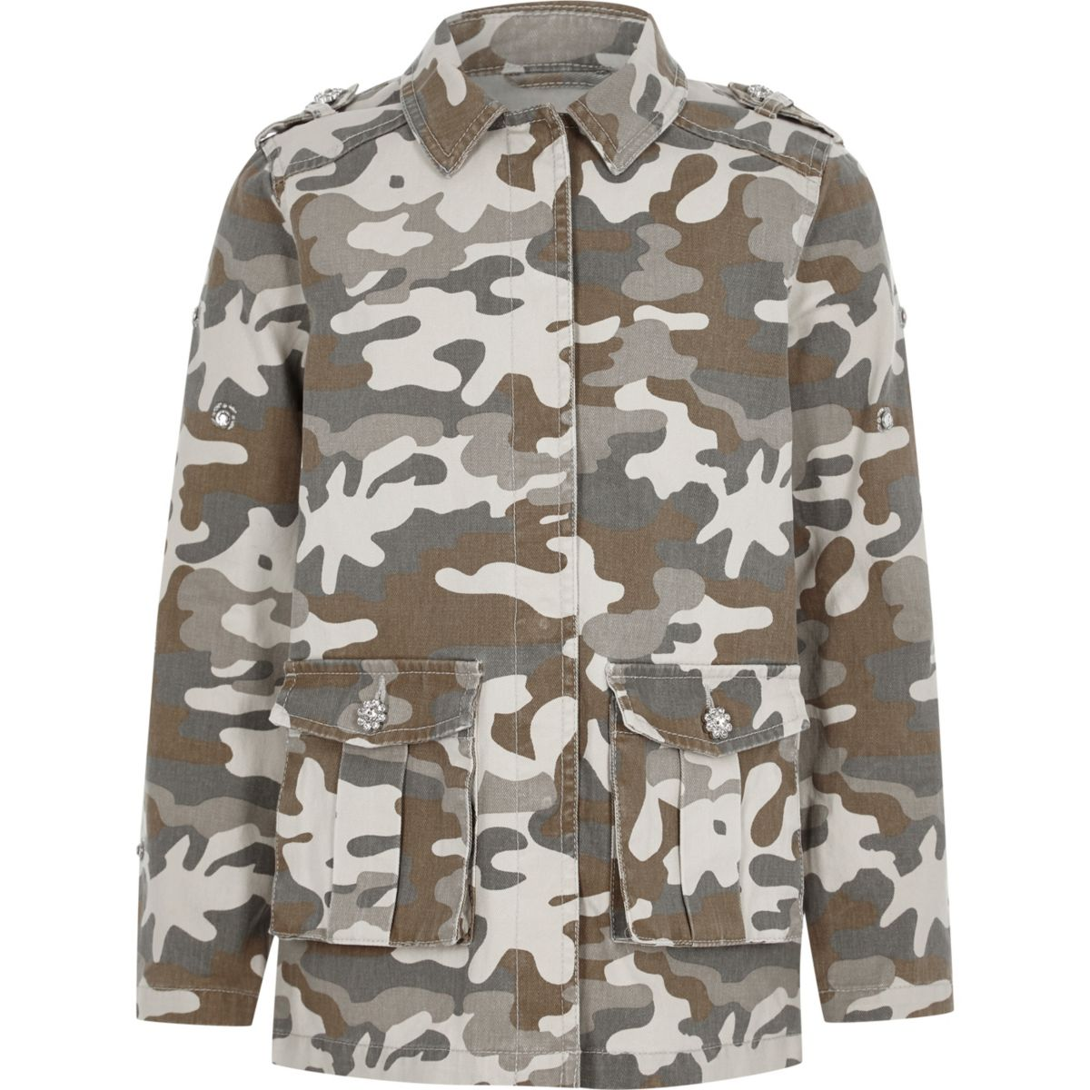 Girls khaki camo diamante embroidered jacket