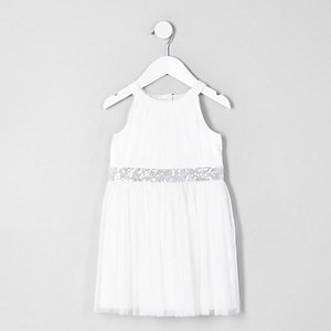Robe de gala trapèze en tulle crème mini fille