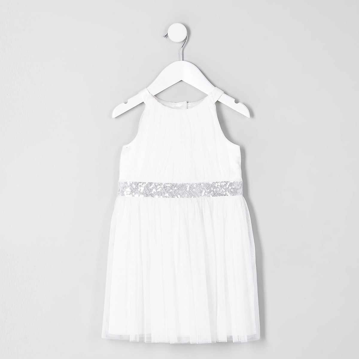 Mini girls cream mesh trapeze prom dress