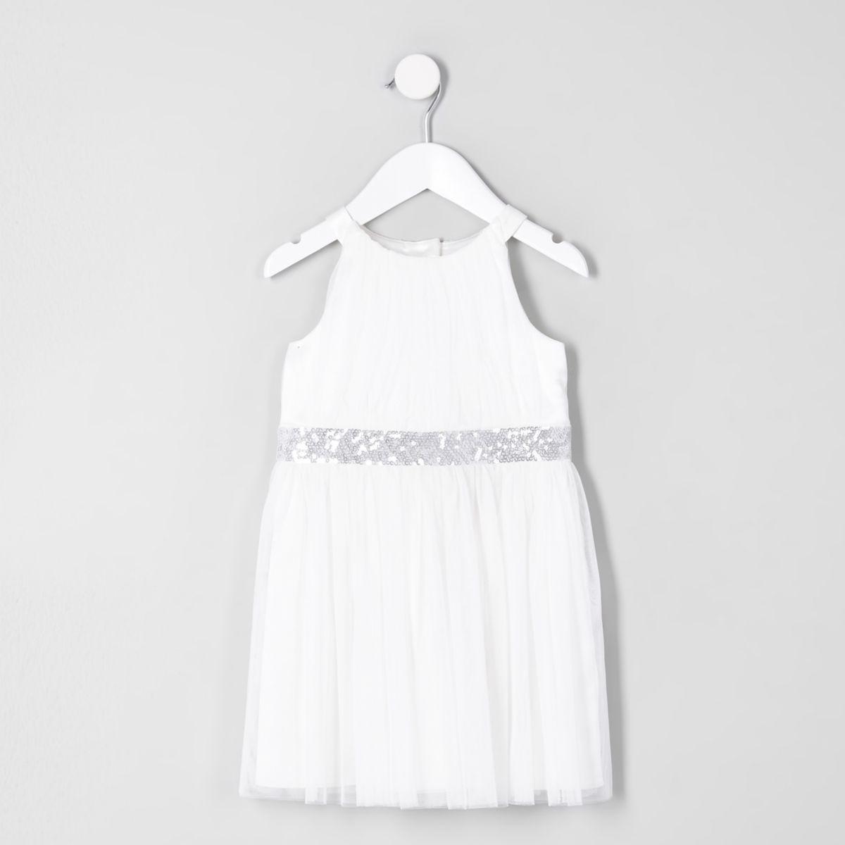 Mini girls cream mesh trapeze prom dress