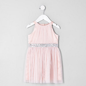 Mini girls pink mesh trapeze prom dress
