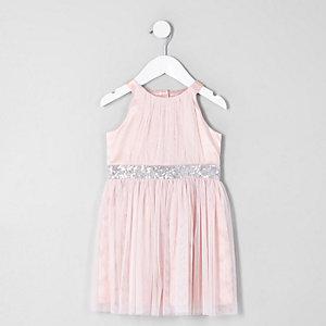 Mini - Roze avondjurk met A-lijn van mesh voor meisjes