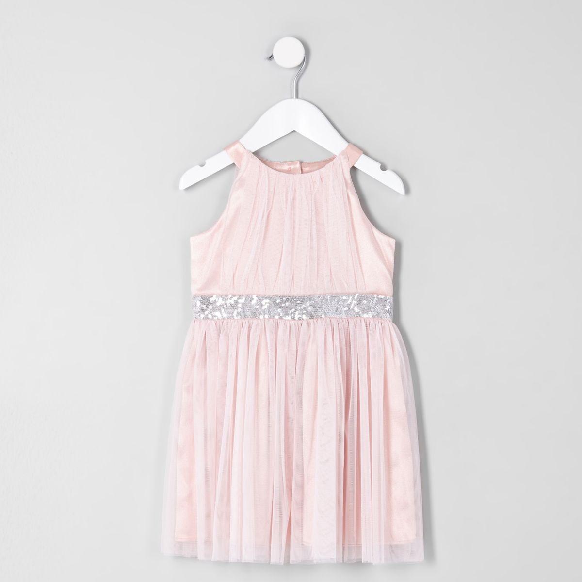 Mini girls pink mesh trapeze prom dress