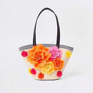 Girls Beige RI studio floral woven straw bag
