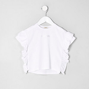 Mini girls white print ruffle T-shirt