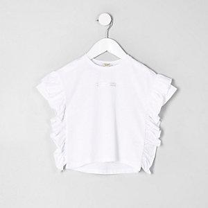 Mini - Wit T-shirt met ruches en print voor meisjes