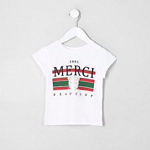 Mini girls white 'merci beaucoup' T-shirt