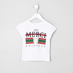 Mini - Wit T-shirt met 'Merci beaucoup'-print voor meisjes