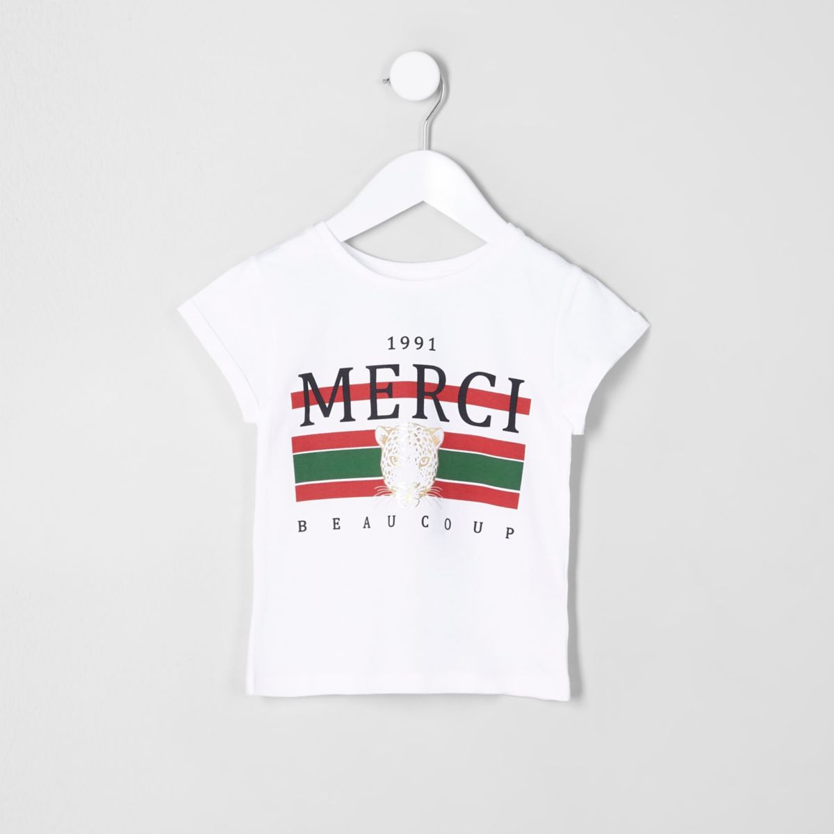 Mini girls white 'merci beaucoup' T-shirt