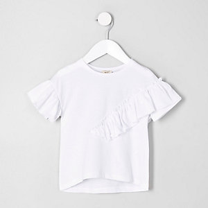 T-shirt blanc à volants mini fille