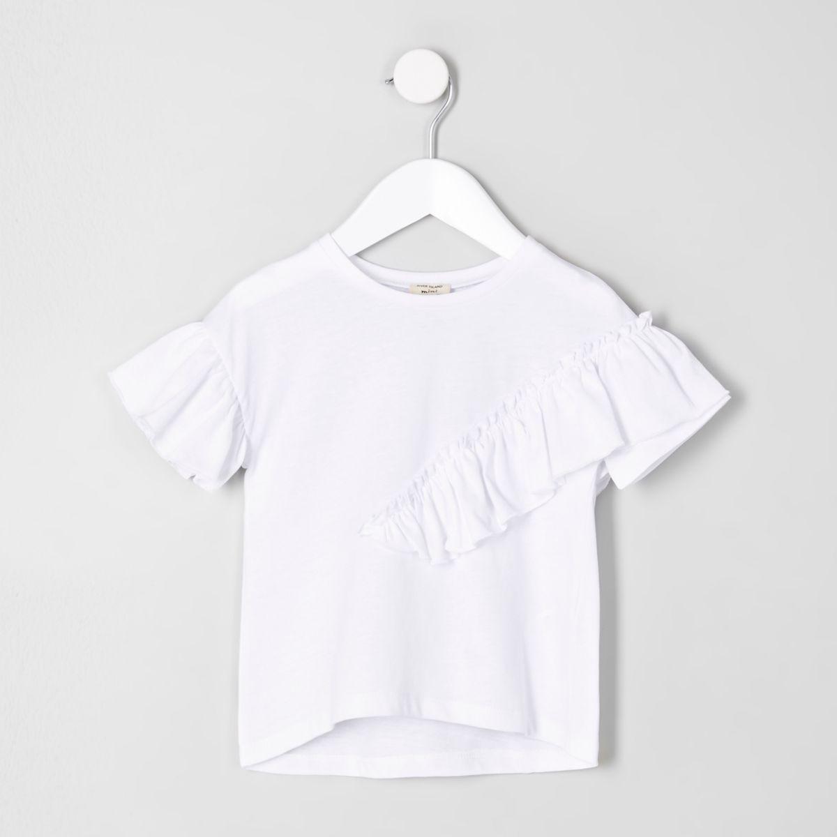 T-shirt blanc à volants mini fille