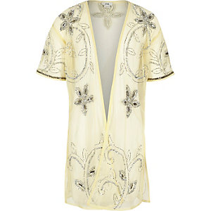 Kimono long jaune orné pour fille