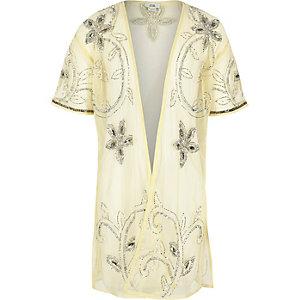 Gele verfraaide lange kimono voor meisjes