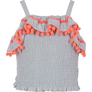 Girls shirred pom pom trim crop top