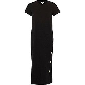 Girls black popper side maxi dress
