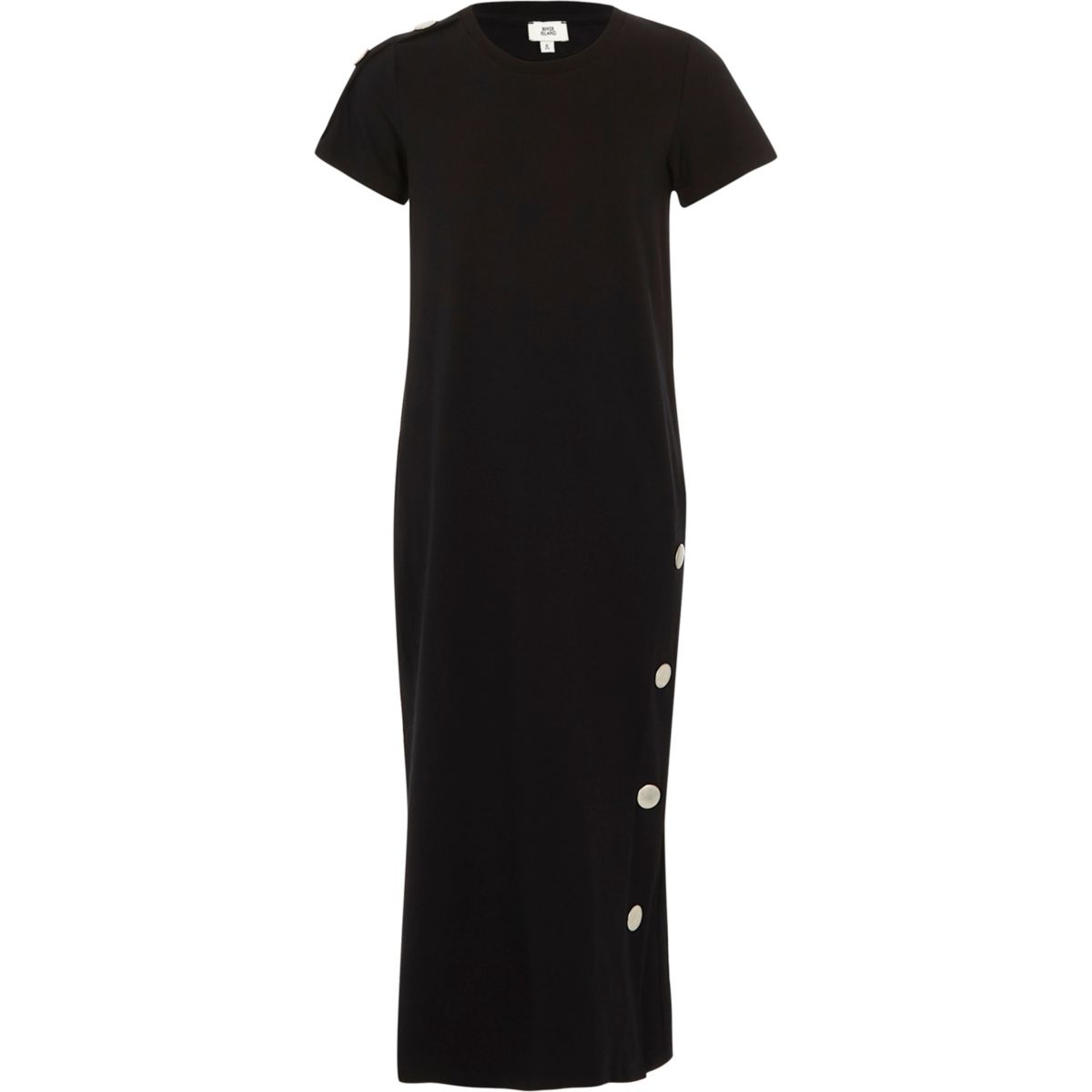 Girls black popper side maxi dress