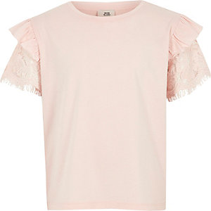Girls pink frill lace short sleeve T-shirt