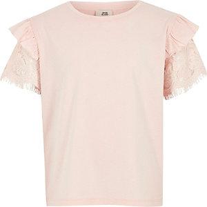 Roze T-shirt met korte mouwen met ruches en kant voor meisjes