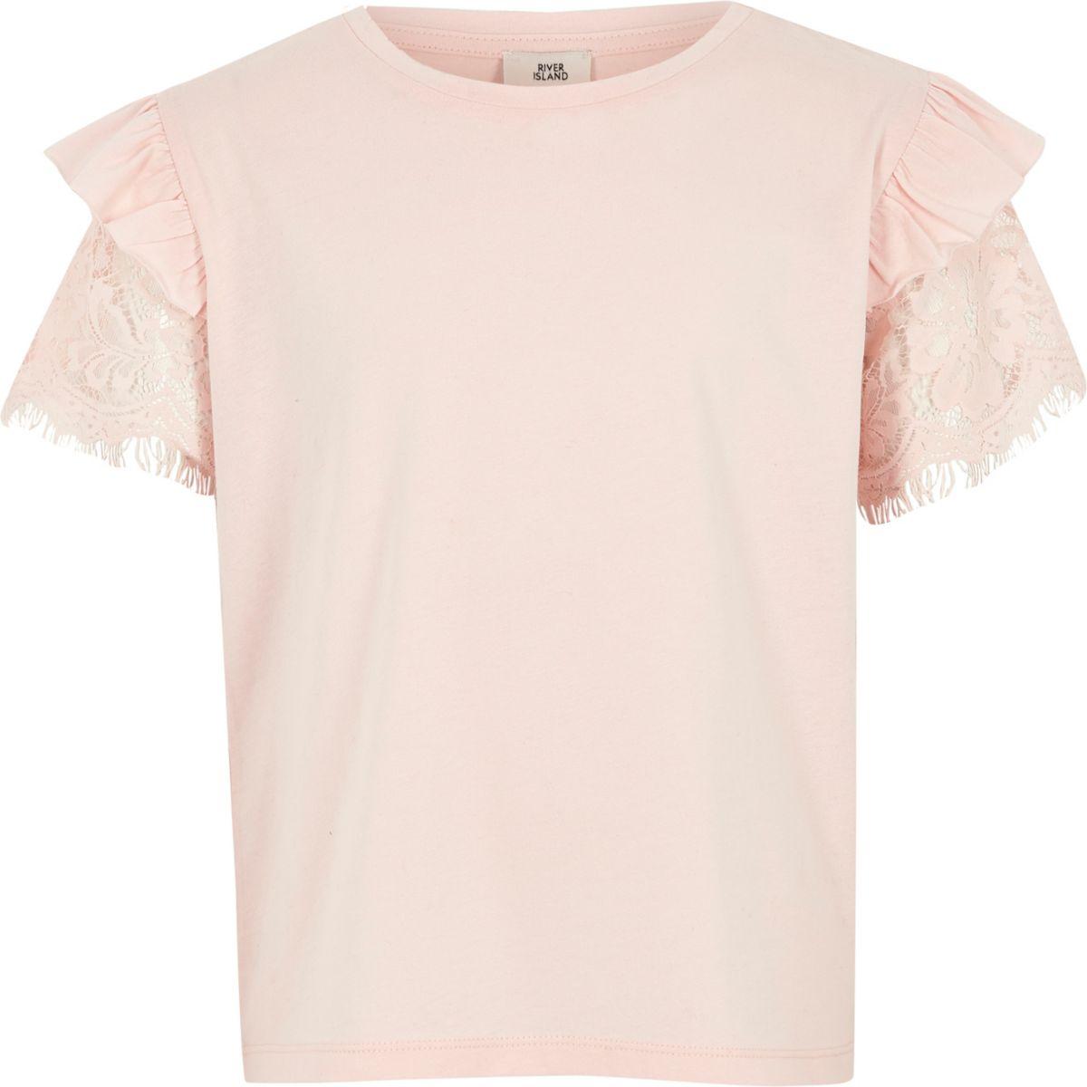 T-shirt rose à volants et manches courtes en dentelle pour fille
