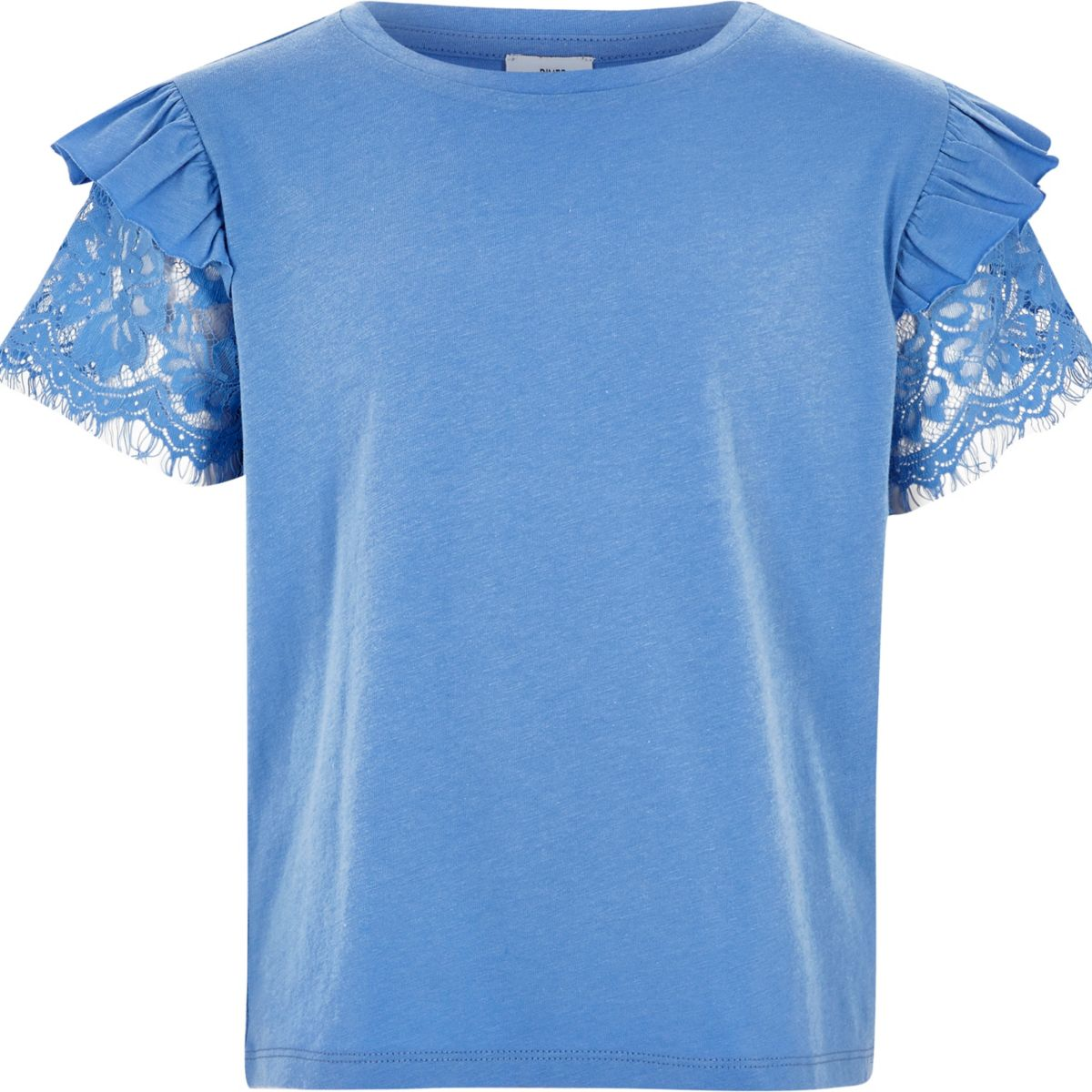 Girls blue frill lace short sleeve t shirt t shirts for Frill sleeve t shirt