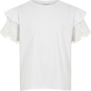 Girls white frill lace short sleeve T-shirt