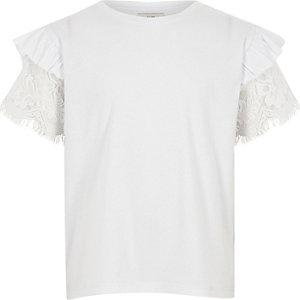 Wit T-shirt met korte mouwen met ruches en kant voor meisjes