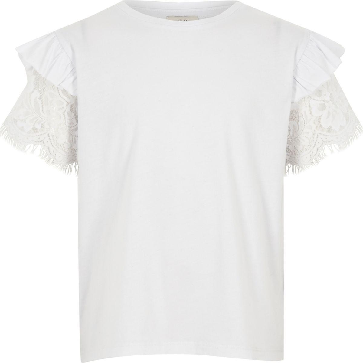 Girls white frill lace short sleeve T-shirt