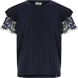 Girls navy frill lace short sleeve T-shirt