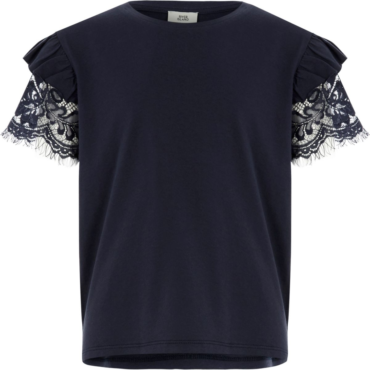 Girls navy frill lace short sleeve T-shirt