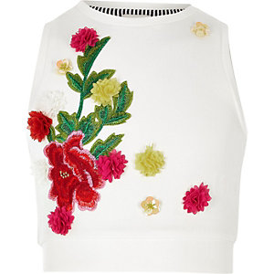 Girls white RI Studio scuba vest top
