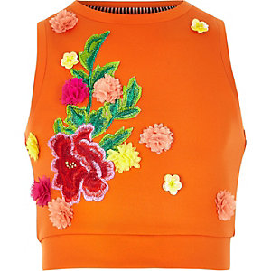 Girls orange RI studio scuba vest top