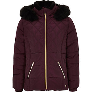 Girls dark red faux fur trim padded coat