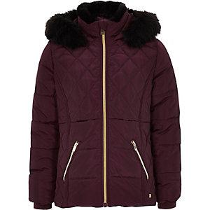 Donkerrode gewatteerde jas met rand van imitatiebont voor meisjes