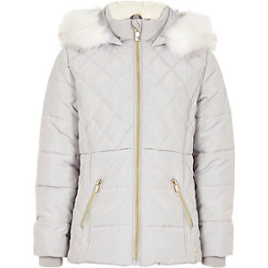 Girls grey faux fur trim padded coat