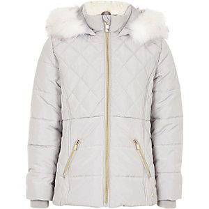 Girls grey faux fur trim padded coat
