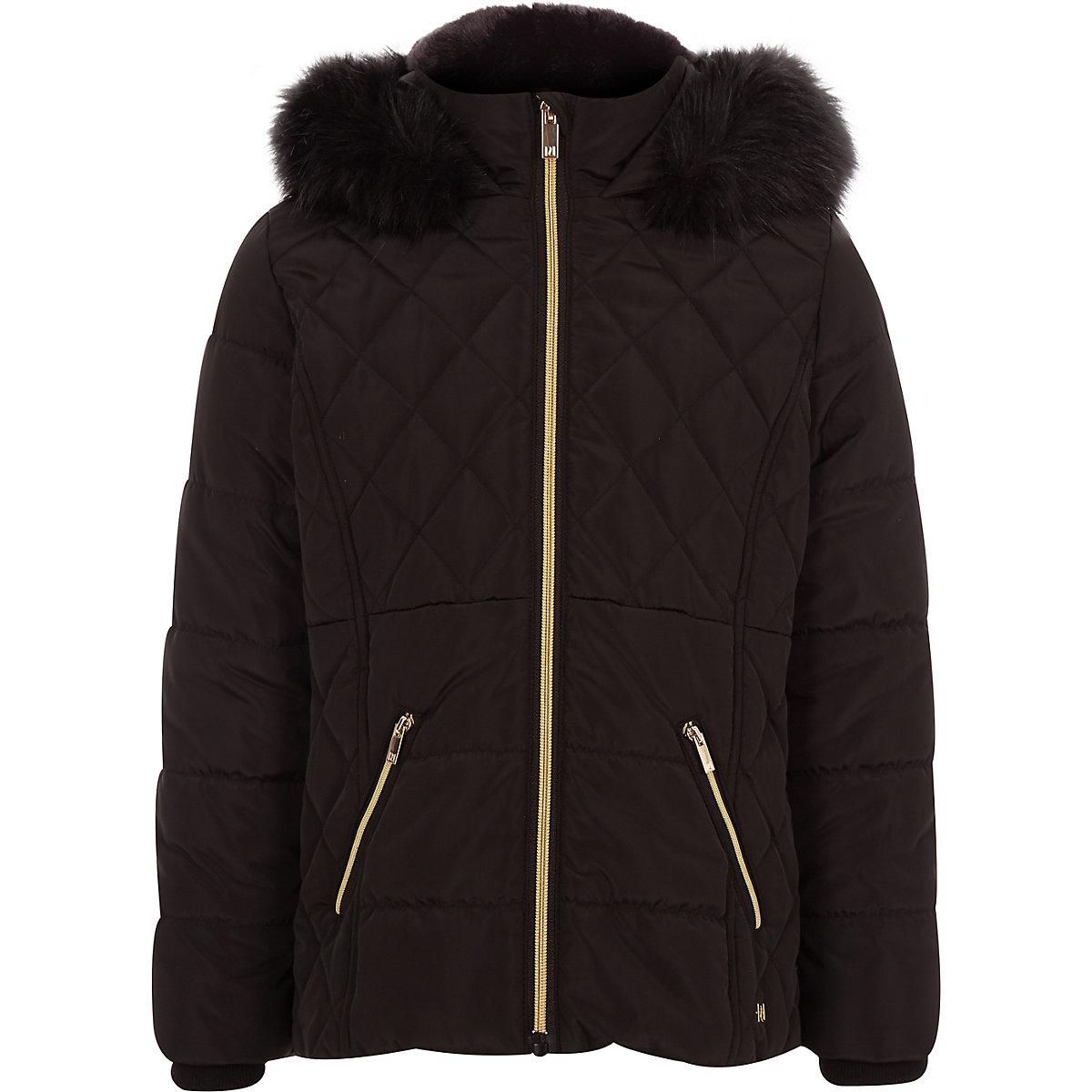 Girls black faux fur trim padded coat