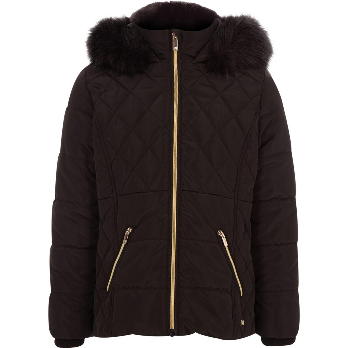 18d889ee0 Girls black faux fur trim padded coat - Jackets - Coats & Jackets - girls