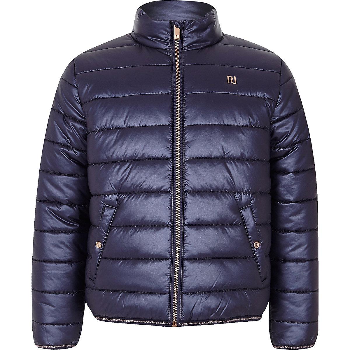 Girls navy padded jacket