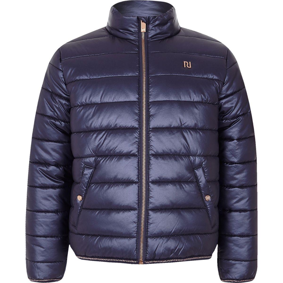 Girls navy bomber jacket