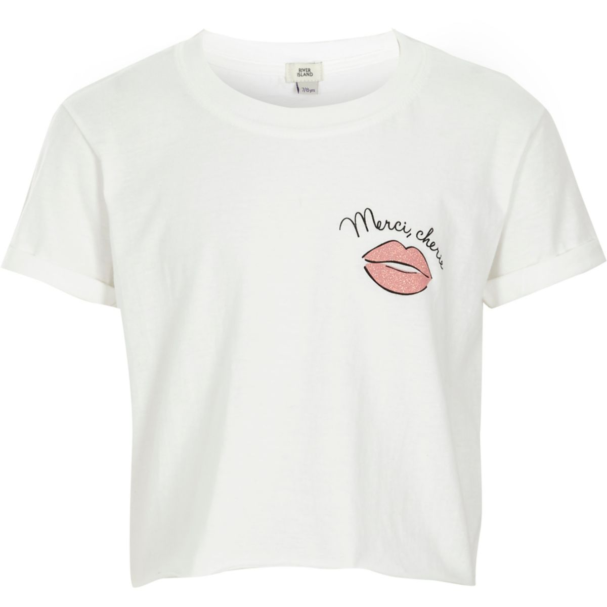 Girls white 'mon cherie' cropped T-shirt