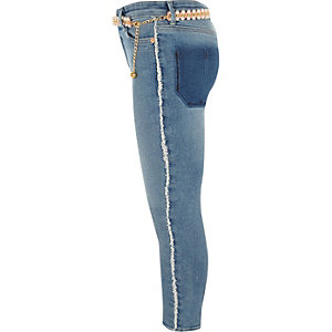 Girls blue Amelie frayed side skinny jeans