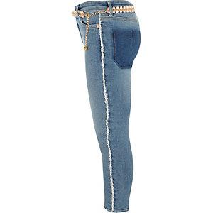 Amelie - Blauwe gerafelde skinny jeans met ceintuur voor meisjes