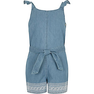 Girls blue denim embroidered playsuit