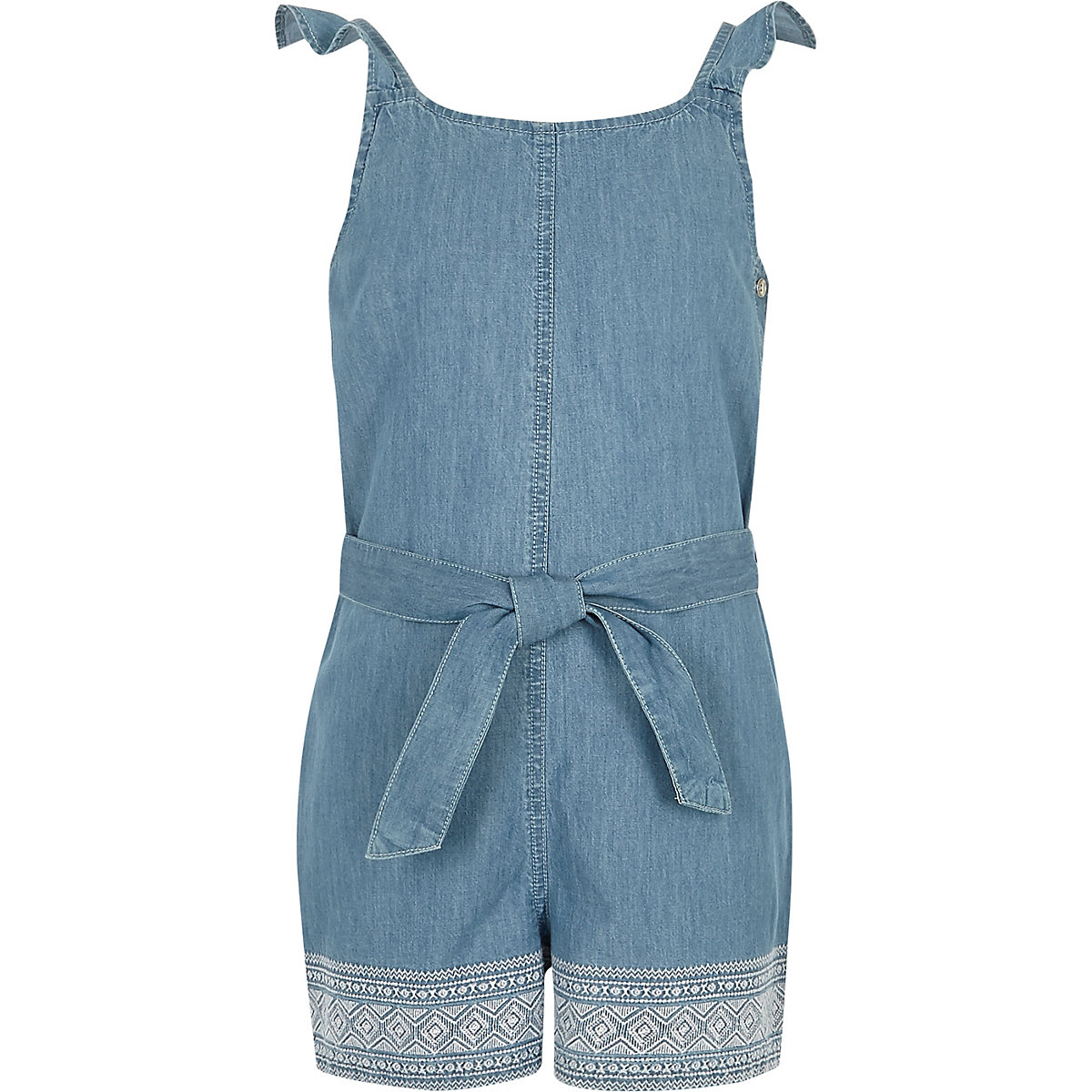 Girls blue denim embroidered romper