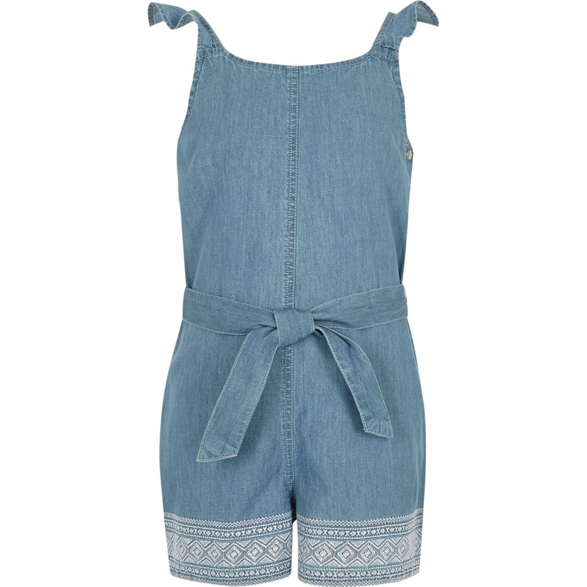 Girls blue denim embroidered playsuit