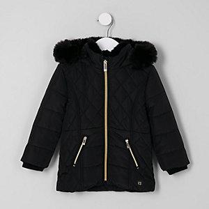 Mini - Zwarte gewatteerde jas met voering van imitatiebont voor meisjes