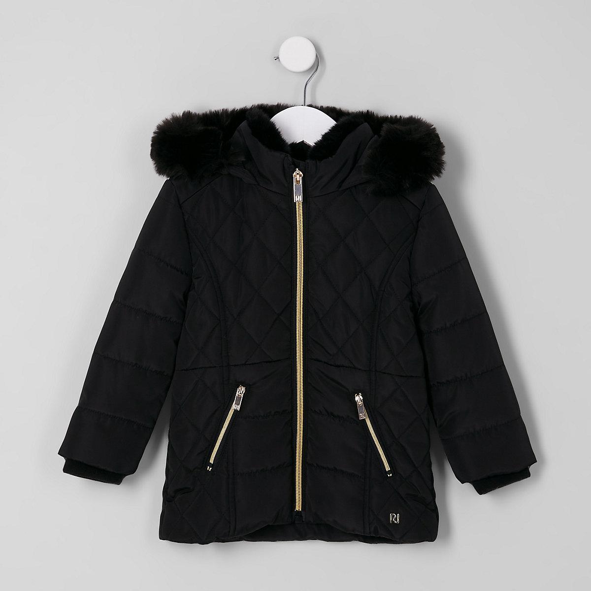 Mini girls black faux fur lined puffer coat
