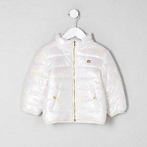 Mini girls white iridescent puffer jacket